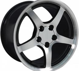Corvette 17 X 9.5 C5 Style Deep Dish Reproduction Wheel, Black With Machined Face, 1988-2004