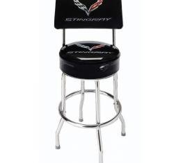 Corvette Bar Stool With Back And C7 Stingray Logo