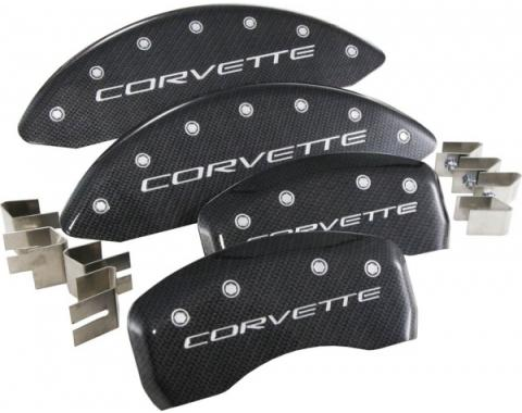 Corvette Carbon Fiber With Silver Script Caliper Covers, 1997-2004
