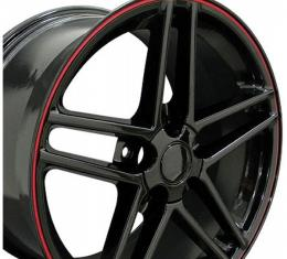 Corvette 18 X 10.5 C6 Z06 Reproduction Wheel, Black With Red Banding, 1988-2004