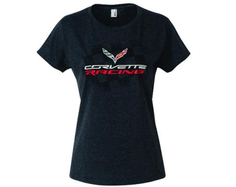 Corvette Racing Ladies T-Shirt, Heather Black