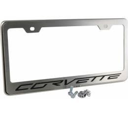 American Car Craft Rear Tag Frame, Stainless Steel, Chrome, Carbon Fiber| 042110 BLACK CF Corvette 2005-2017