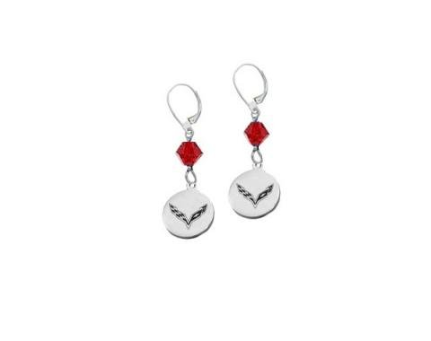"Corvette C7 Emblem Swarovski Crystal 5/8"" Earrings"