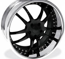 "Corvette Wheel Package, Z06/ZR1/Grand Sport, Custom Black, Chrome Lip, 19x9.5"" Front, 20x12"" Rear, 2006-2013"