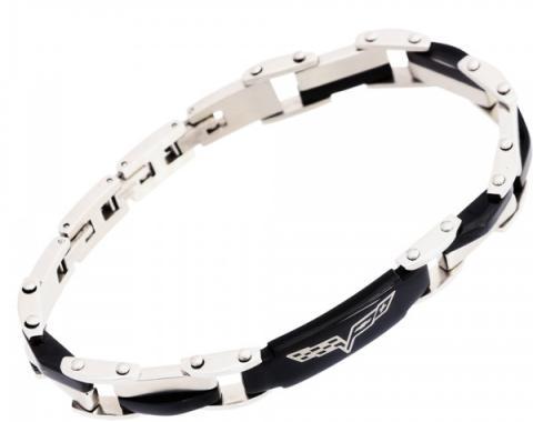 Corvette C6 Unisex Stainless Polished & Black Bracelet