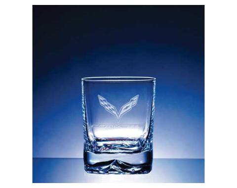 Corvette Crystal Strauss 'On The Rocks' Double Old Fashioned 13.5 Ounce Glass Set Of Four by Luigi Bormioli - C7 Corvette Designs