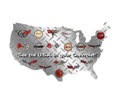 "Corvette USA Shaped Sign With Corvette Logos, 12"" X 7"""