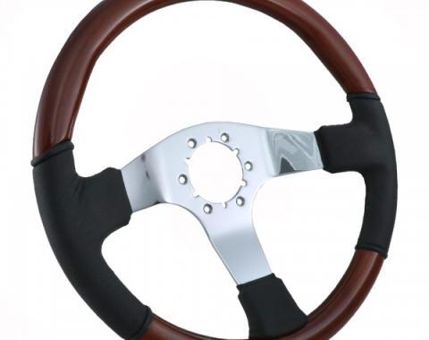 Corvette Steering Wheel, Leather/Wood Chrome 3 Spoke, 1968-1982