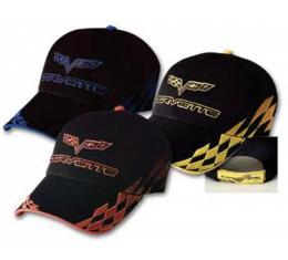 Corvette C6 Cap, Bad Vette, Black With Le Mans Blue Checkered Pattern