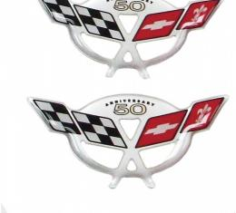 "Corvette C5 50th Anniversary 3D Domed Logo Decals 2.375"" X 1.17"", 2003"