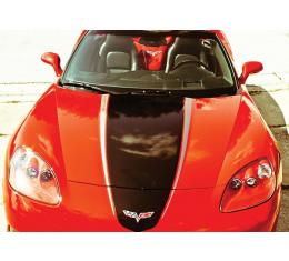 Corvette Hood Decal Package, Convertible, Silver With Red Accent, Racing Stripe, 2005-2013