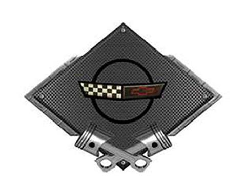 "Corvette C4 1991-1996 Emblem Metal Sign, Black Carbon Fiber, Crossed Pistons, 25"" X 19"""