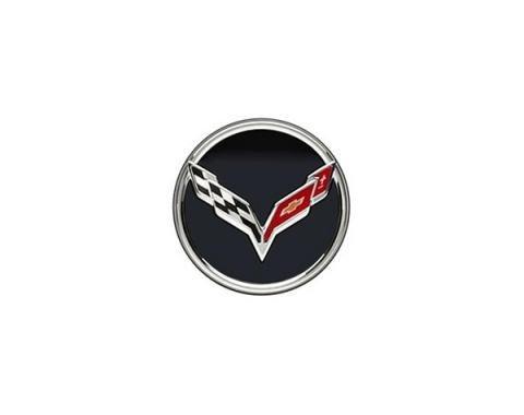 Corvette Wheel Center Cap, Crossed Flags, Black, 2014-2017