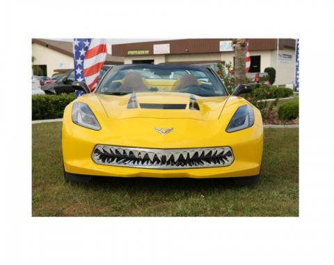 American Car Craft Shark Tooth Stainless Grille, Black| 052080 Corvette Stingray 2014-2015