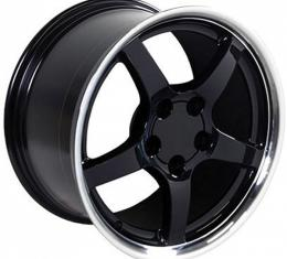 Corvette 18 X 9.5 C5 Style Deep Dish Reproduction Wheel, Black With Machined Lip, 1988-2004