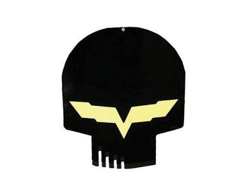 "Corvette Jake Metal Sign, Black Head Skull, 12"" X 10"""