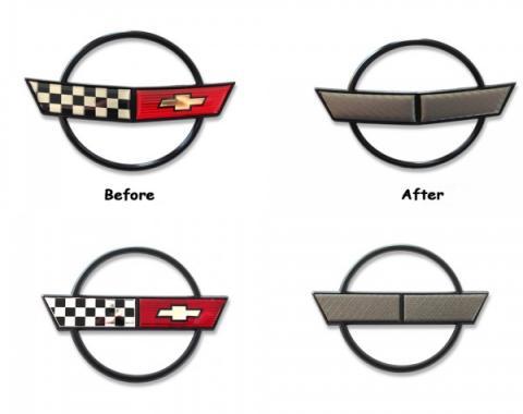 Corvette Front & Rear Emblem Decal Overlay, Carbon Fiber, 1984-1996