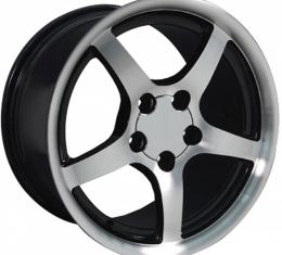 Corvette 18 X 10.5 C5 Style Deep Dish Reproduction Wheel, Black With Machined Face, 1988-2004