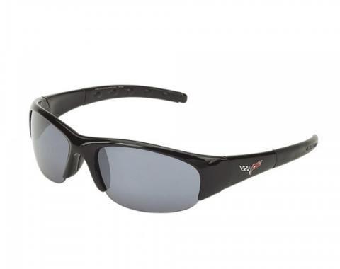 Corvette C6 Emblem Series, Wraparound Sunglasses, Smoke Flash Mirror Lens