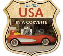 Corvette Road Shield Vintage Metal Sign, 15x15