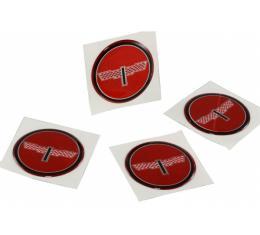 """Corvette Wheel Spinner Kit Emblems, Checkered Flag, 1-3/4"""",Red, 1976-1987"""