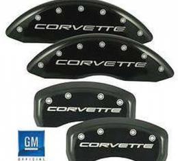 Corvette Brake Caliper Covers, MGP, Black, With Logo, Z06 &Grand Sport, 2006-2013