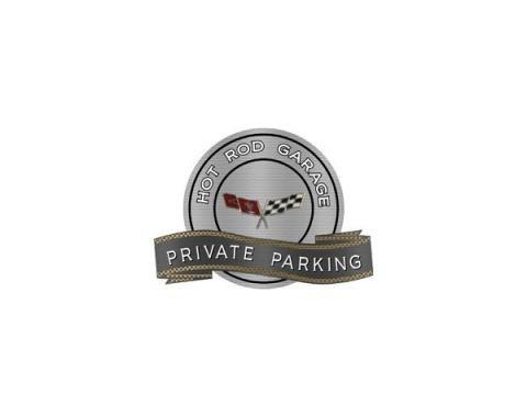 "Corvette C3 1977-1979 Emblem Hot Rod Garage Private ParkingMetal Sign, 18"" X 14"""