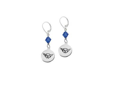 "Corvette C5 Emblem Swarovski Crystal 5/8"" Earrings"