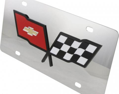 Corvette License Plate, Mirror Style, With Inlaid Black Logo, 1953-1982