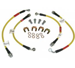 Corvette Brake Hose Set, Braided Stainless Steel, Yellow, 1997-2004