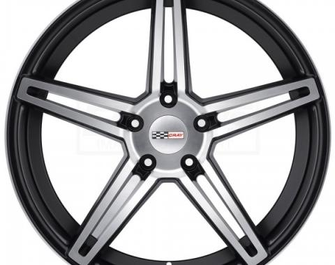 Corvette Wheel, Cray Brickyard, 19x11, Rear Only, Machined Matte Black, 2014-2017