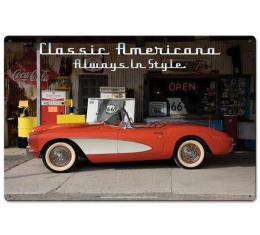 Corvette Classic Americana Vintage Metal Sign, 24x16