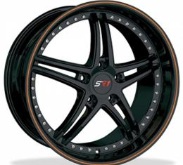 "Corvette Wheel Package, Gloss Black With Orange Stripe, Bullet Series, 18"" Front, 19"" Rear, 1997-2013"