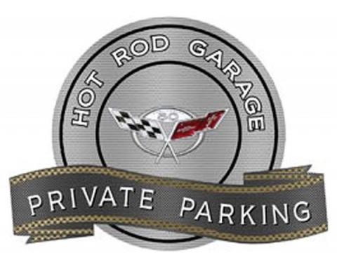 "Corvette C5 50th Anniversary Emblem Hot Rod Garage Private Parking Metal Sign, 18"" X 14"""