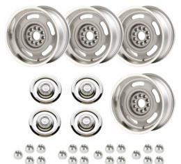 Classic Chevy - Rally Wheel Kit, 1-Piece Cast Aluminum With  Flat Disc Brake Style Center Caps,  17x9