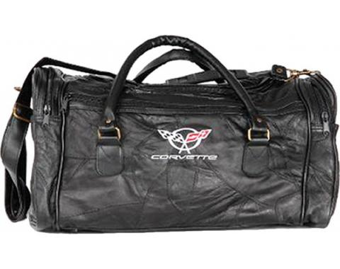 Corvette Leather Road Trip Bag With C5 Embroidered Emblem