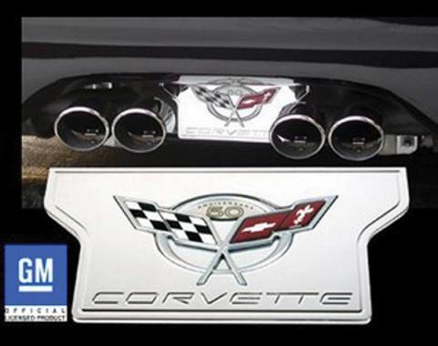Corvette Exhaust Filler Plate, Chrome Plated Billet Aluminum With 50th Anniversary Logo, 2003