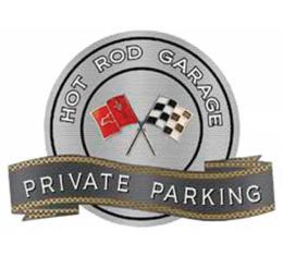 "Corvette C2 Crossed Flags Emblem Hot Rod Garage Private Parking Metal Sign, 18"" X 14"""