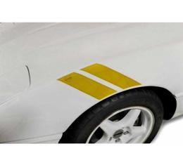Corvette Fender Accent Stripes, Yellow With Crossed Flags Emblem, 1991-1996