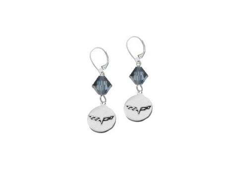"Corvette C6 Emblem Swarovski Crystal 5/8"" Earrings"