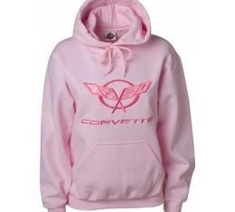 Corvette C5 Sweatshirt, Ladies, Tonal Hooded, Pink | Small