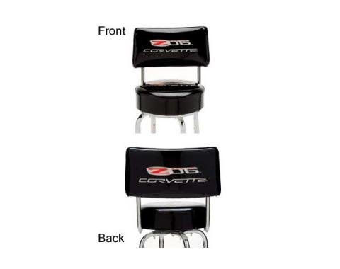 Corvette Bar Stool, C6 Z06 505hp Logo, With Backrest