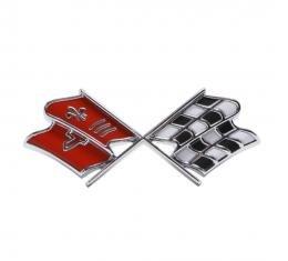 Trim Parts 67 Corvette Front X-Flag Emblem, Orange Red, Each 5235