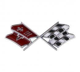 Trim Parts 67 Corvette Front X-Flag Emblem, Dark Red, Each 5234