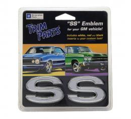 "Trim Parts Universal ""SS"" Emblem with Three Colors of Inserts, Adhesive Backing, Pair Z4620A"