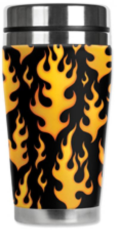 Mugzie® brand Travel Mug - Black Flames