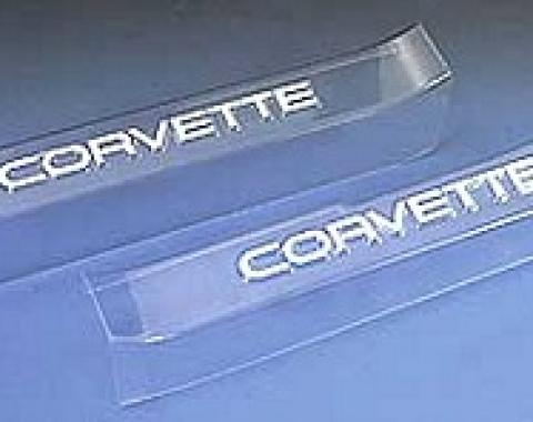 Corvette Sill Ease Protectors, Clear, With White Letters, 1990-1996
