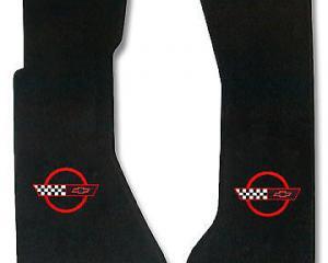 Corvette Floor Mats, 2 Piece Lloyd® Velourtex™, with Red Corvette Logo, Black Carpet, 1991-1996