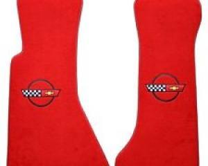 Corvette Floor Mats, 2 Piece Lloyd® Velourtex™, with Corvette Logo, Red Carpet, 1984-1990