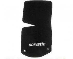 Corvette Floor Mats, 2 Piece Lloyd® Velourtex™, with Silver Corvette Script, Black Carpet, 1968-1982